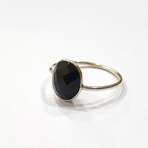 Sterling Silver Black Onyx Classic Single Stone Ring Everyday Rings Girls Jewellery Women Ring Girls Ring Pack Of 1 Ring Ideal for Women