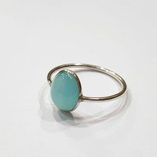 Sterling Silver Blue Chalcedony Classic Single Stone Ring Everyday Rings Girls Jewellery Women Ring Girls Ring Pack Of 1 Ring Ideal for Women