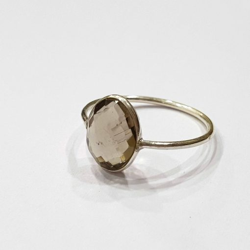 Sterling Silver Brown Quartz Classic Single Stone Smokey Quartz Ring Everyday Rings Girls Jewellery Women Ring Girls Ring Pack Of 1 Ring Ideal for Women