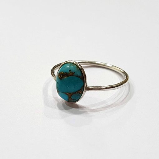 Sterling Silver Blue Turquoise Classic Single Stone Ring Everyday Rings Girls Jewellery Women Ring Girls Ring Pack Of 1 Ring Ideal for Women