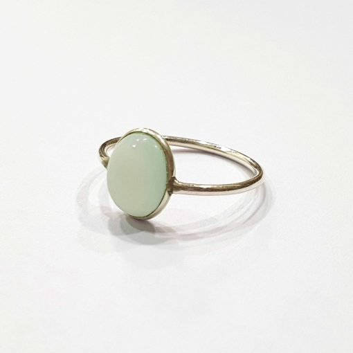 Sterling Silver Blue Chalcedony Classic Single Stone Aqua Chalcedony Cabochon Ring Everyday Rings Girls Jewellery Women Ring Girls Ring Pack Of 1 Ring Ideal for Women
