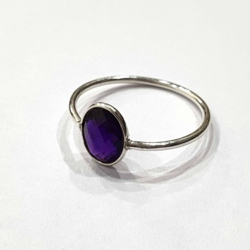 Sterling Silver Purple Amethyst Classic Single Stone Ring Everyday Rings Girls Jewellery Women Ring Girls Ring Pack Of 1 Ring Ideal for Women