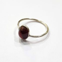 Sterling Silver Red Garnet Classic Single Stone Ring Everyday Rings Girls Jewellery Women Ring Girls Ring Pack Of 1 Ring Ideal for Women