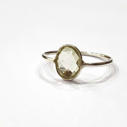 Sterling Silver Green Amethyst Classic Single Stone Ring Everyday Rings Girls Jewellery Women Ring Girls Ring Pack Of 1 Ring Ideal for Women