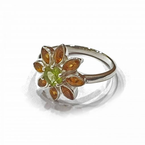 Sterling Silver Orange Citrine Sun Flower Ring Everyday Rings jewellery rings for girls jewellery for women Pack Of 1 Ring Ideal for Women