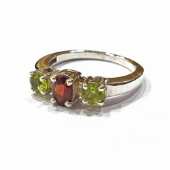 Sterling Silver Green Peridot Trinity Ring Everyday Rings jewellery rings for girls jewellery for women Pack Of 1 Ring Ideal for Women