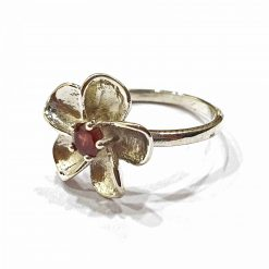 Sterling Silver Red Garnet Flower Ring Everyday Rings jewellery rings for girls jewellery for women Pack Of 1 Ring Ideal for Women