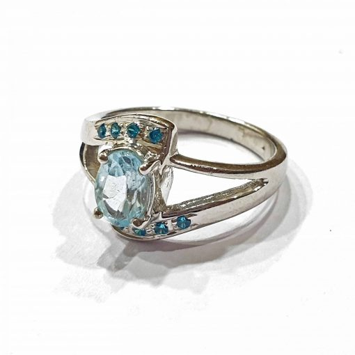 Sterling Silver Blue Topaz King's Ring Everyday Rings jewellery rings for girls jewellery for women Pack Of 1 Ring Ideal for Women
