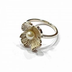 Sterling Silver White Pearl White Flower Ring Everyday Rings jewellery rings for girls jewellery for women Pack Of 1 Ring Ideal for Women