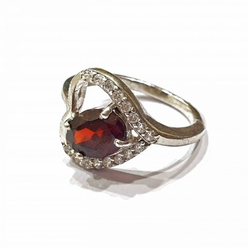 Sterling Silver Red Garnet Heart Ring Everyday Rings jewellery rings for girls jewellery for women Pack Of 1 Ring Ideal for Women