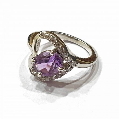 Sterling Silver Purple Amethyst Heart Ring Everyday Rings jewellery rings for girls jewellery for women Pack Of 1 Ring Ideal for Women