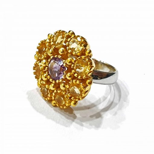 Sterling Silver Yellow Citrine Flower Ring Everyday Rings jewellery rings for girls jewellery for women Pack Of 1 Ring Ideal for Women