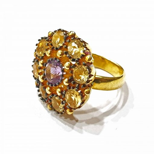 Sterling Silver Yellow Citrine Black Flower Ring Everyday Rings jewellery rings for girls jewellery for women Pack Of 1 Ring Ideal for Women