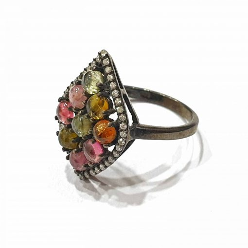 Sterling Silver Black Tourmaline Spade Ring Everyday Rings jewellery rings for girls jewellery for women Pack Of 1 Ring Ideal for Women