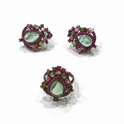 Sterling Silver Black Tourmaline Victorian Pendant Set Everyday Ring Set jewellery rings for girls jewellery for women Pack Of 1 Ring and 1 Pair Earrings Ideal for Women