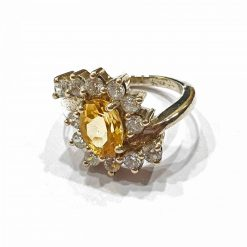 Sterling Silver Yellow Citrine Tiara Ring Everyday Rings jewellery rings for girls jewellery for women Pack Of 1 Ring Ideal for Women