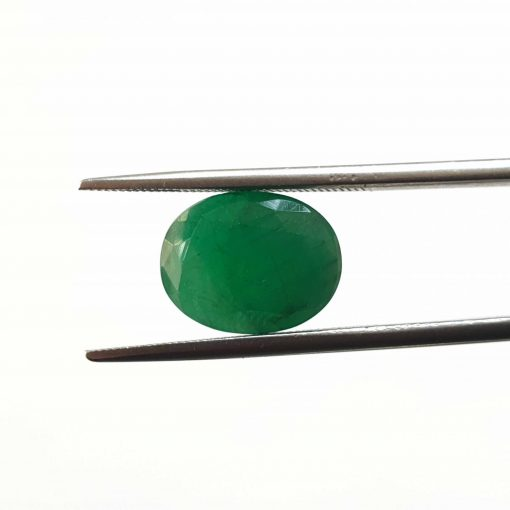 Natural Green Oval Faceted Cut 5.1 ct Zambia Emerald No Treatment August Birthstone Precious Stone with Dimensions 12x9x6 MM