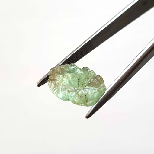 Natural Green Lord Ganesh Carving Faceted Cut 4.85 ct Coloumbia Emerald No Treatment September Birthstone Precious Stone
