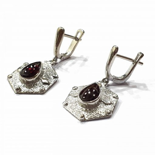 Sterling Silver Red Garnet Pear Hexagon Earrings Everyday Silver Earrings Earrings Space Earrings jewellery for women Pack Of 1 Pair Earrings Ideal for Women