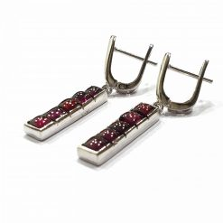 Sterling Silver Red Garnet Long Rectangle Boxes Earrings Everyday Silver Earrings Earrings Space Earrings jewellery for women Pack Of 1 Pair Earrings Ideal for Women