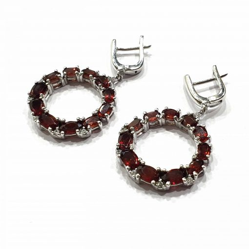 Sterling Silver Red Garnet Round Loop Circle  Symmetric Earrings Earrings Everyday Stylish Earrings Round Earrings Earrings Jewellery for Girls Pack Of 1 Pair Earrings Ideal for Women