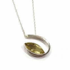Sterling Silver Yellow Topaz 18 Inch Necklace with Lord of the Rings Eye Pendant Necklace Everyday Eye Jewellery Stylish Necklace Necklace for Girls Jewellery for Girls Pack Of 1 Necklace Ideal for Women