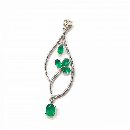 Sterling Silver Green Onyx Leaf Pendant Everyday Silver Pendant Pendants Silver Necklace jewellery for women Pack Of 1 Pendant Ideal for Women