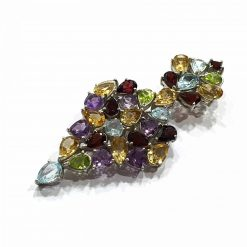 Sterling Silver Multi Multi Super Symmetric Royal Pendant with Natural and Original Stones like Garnet Peridot Amethyst Citrine and Blue Topaz Pendant Everyday Royal Pendant Pendants Gift for women jewellery for women Pack Of 1 Ring Ideal for Women
