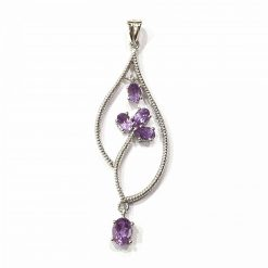 Sterling Silver Purple Amethyst Leaf Pendant Everyday Silver Pendant Pendants Silver Necklace jewellery for women Pack Of 1 Pendant Ideal for Women