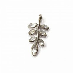 Sterling Silver White Crystal Olive Leaf Peace Pendant Pendant Everyday Olive Leaf Pendants Olive Branch jewellery for Men Pack Of 1 Pendant Ideal for Men