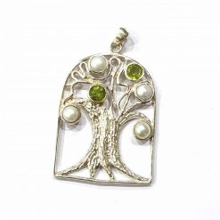 Sterling Silver White Pearl Big Tree Pendant Natural Pendant Pendant Everyday Tree Pendant Pendants Gift for Nature Lover jewellery for Men Pack Of 1 Pendant Ideal for Men