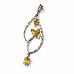 Sterling Silver Yellow Citrine Leaf Pendant Everyday Silver Pendant Pendants Silver Necklace jewellery for women Pack Of 1 Pendant Ideal for Women