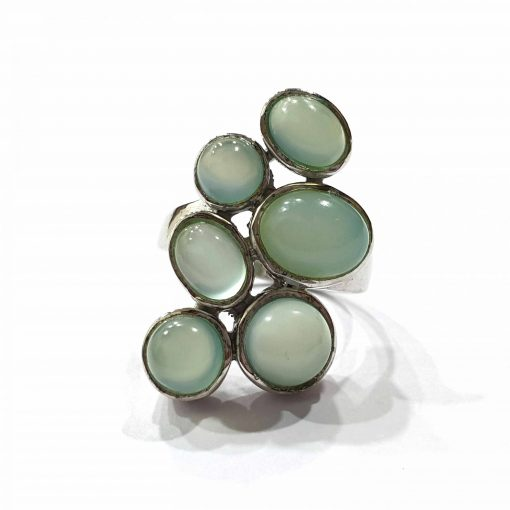 Sterling Silver Blue Chalcedony Contemporary Fission Ring Everyday Silver Rings Rings Rings for Women jewellery for women Pack Of 1 Ring Ideal for Women
