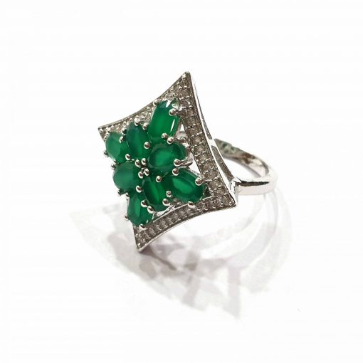 Sterling Silver Green Onyx Tiara of Princess Ring Everyday Silver Rings Rings Rings for Women jewellery for women Pack Of 1 Ring Ideal for Women