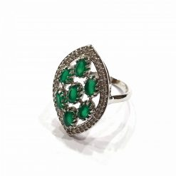 Sterling Silver Green Onyx Marquise Natural Green Onyx Ring Everyday Silver Rings Rings Rings for Women jewellery for women Pack Of 1 Ring Ideal for Women