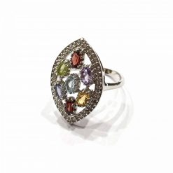 Sterling Silver Multi Multi Marquise Natural Multi Stone Ring Everyday Silver Rings Rings Rings for Women jewellery for women Pack Of 1 Ring Ideal for Women