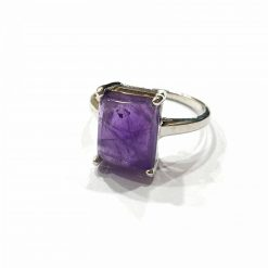 Sterling Silver Purple Amethyst Pinky Finger Classic Ring Everyday Silver Rings Rings Rings for Women jewellery for women Pack Of 1 Ring Ideal for Women