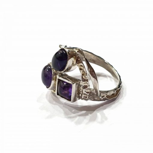Sterling Silver Purple Amethyst Russian Trinity Ring Everyday Silver Rings Rings Rings for Women jewellery for Men Pack Of 1 Ring Ideal for Men