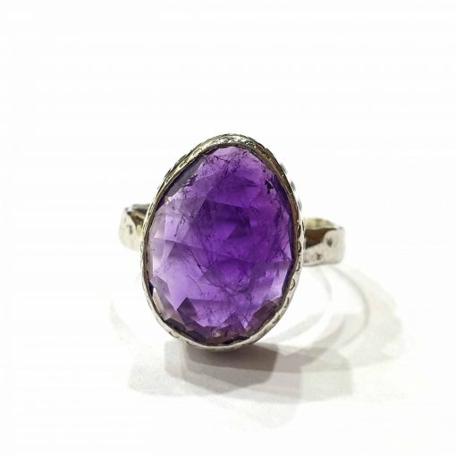 Sterling Silver Purple Amethyst Vintage Style Ring Everyday Silver Rings Rings Rings for Women jewellery for Men Pack Of 1 Ring Ideal for Men