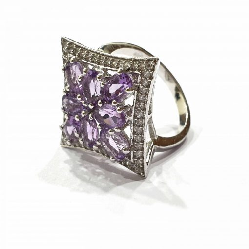 Sterling Silver Purple Amethyst Tiara of Princess Ring Everyday Silver Rings Rings Rings for Women jewellery for women Pack Of 1 Ring Ideal for Women