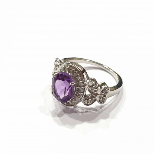Sterling Silver Purple Amethyst Butterfly Crown Ring Everyday Silver Rings Rings Rings for Women jewellery for women Pack Of 1 Ring Ideal for Women