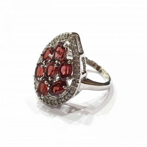 Sterling Silver Red Garnet Queens Pear Crown Ring Everyday Silver Rings Rings Rings for Women jewellery for women Pack Of 1 Ring Ideal for Women