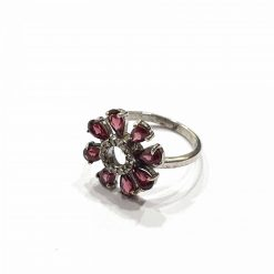 Sterling Silver Red Garnet Red Flower with Leafs Ring Everyday Silver Rings Rings Rings for Women jewellery for women Pack Of 1 Ring Ideal for Women