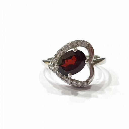 Sterling Silver Red Garnet Heart with Natural Red Original Garnet Stone Ring Everyday Silver Rings Rings Rings for Women jewellery for women Pack Of 1 Ring Ideal for Women