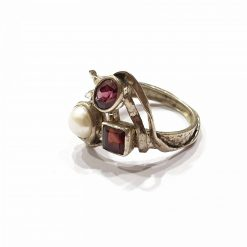 Sterling Silver Red Garnet Square Oval Round Trinity of Natural Original Stones Ring Everyday Silver Rings Rings Rings for Women jewellery for Men Pack Of 1 Ring Ideal for Men