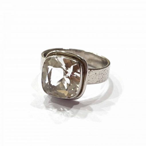 Sterling Silver White Crystal Square Classic Ring Everyday Silver Rings Rings Rings for Women jewellery for Men Pack Of 1 Ring Ideal for Men