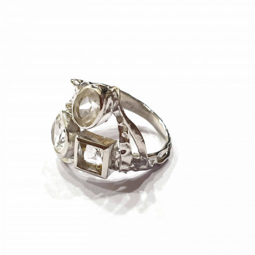 Sterling Silver White Crystal Russian Trinity Ring Everyday Silver Rings Rings Rings for Women jewellery for Men Pack Of 1 Ring Ideal for Men
