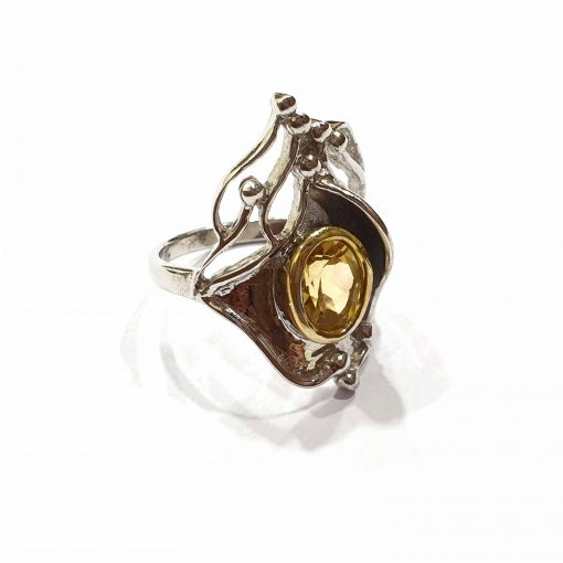 Sterling Silver Yellow Citrine Kings Luck Ring Everyday Silver Rings Rings Rings for Women jewellery for Men Pack Of 1 Ring Ideal for Men