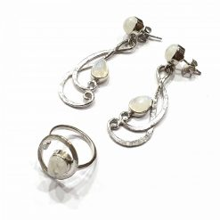 Sterling Silver White Moonstone Music Note Long And Set Earring and Ring Everyday Jewellery Set Jewellery Gifts Ring and Earrings Set Gifts Pack Of 1 Ring and 1 Pair Earrings Ideal for Women