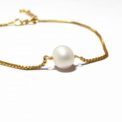 Sterling Silver Gold Pearl Delicate Bracelet with Box Chain Bracelet Everyday Bracelet for Girls Bracelet Jewelry for Her Silver Jewellery Pack Of 1 Bracelet Ideal for Women